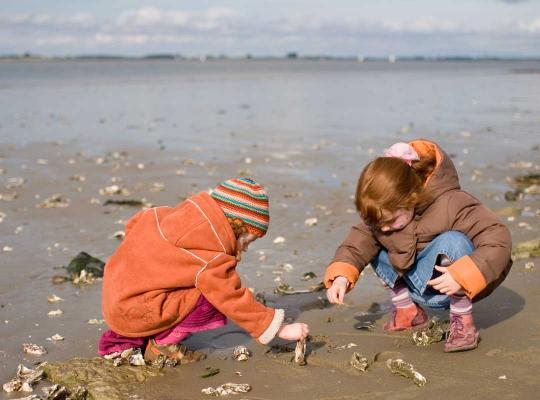 2 kinderen op het strand